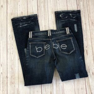 Bebe spell out distressed Sophia bootcut jeans 28